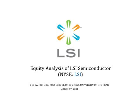 Equity Ross Mba by 06 Equity Valuation Of Lsi Semiconductor Deb Sahoo