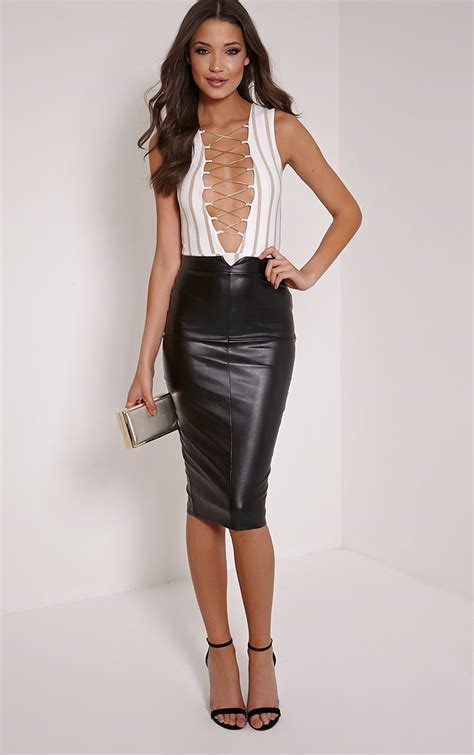 prettylittlething womens black faux leather