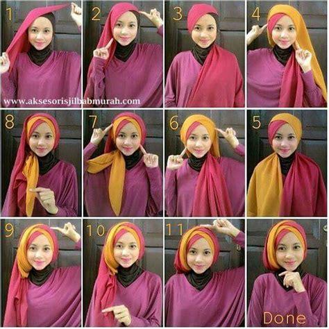 tutorial hijab turban kombinasi 30 tutorial hijab pashmina paris dua warna dua kerudung