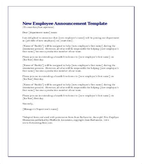 Sle Memo New Employee Announcement New Hire Announcement Template Business Inventory Templates Sle Dot Physical Form Indiana