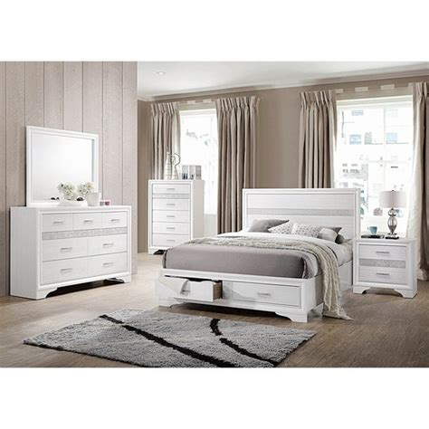 shop alexandria rhinestone  piece storage bedroom set