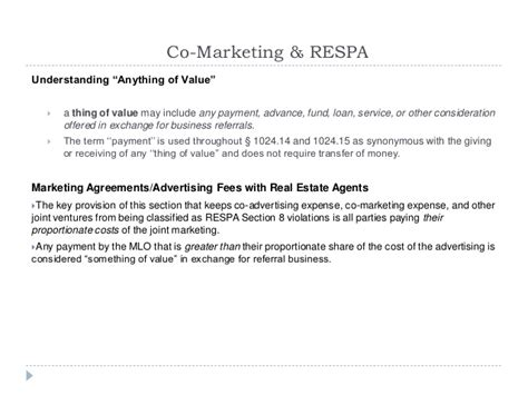 respa section 8 violations 2014 rules regulations and ethics while marketing to