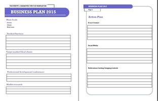 Free Sle Business Plan Template by One Page Business Plan Template Free Business Template