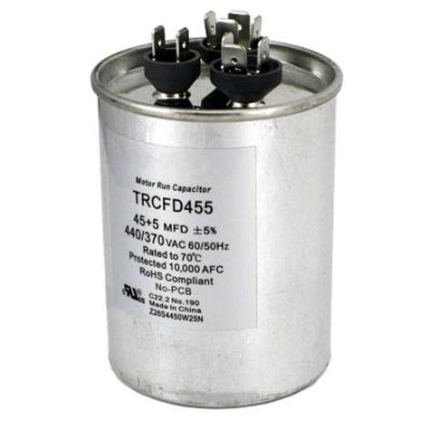dual motor run capacitor mfd rating 35 5 packard 440 volt 45 5 mfd dual motor run capacitor trcfd455 the home depot