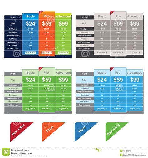 web design pricing tables template vector mock up royalty free vector price table templates stock vector illustration