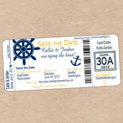 nautical boarding pass save the date or wedding invitation