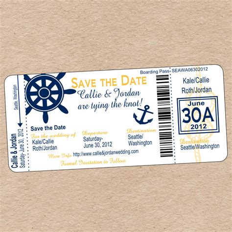 save the date boarding pass template nautical boarding pass save the date or wedding invitation