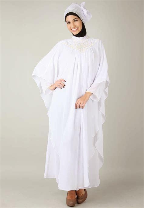Gamis Pesta Putih Elegan model baju gamis sifon kombinasi cantik edisi terbaru