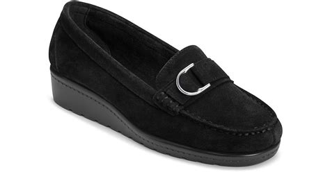 parisian loafers aerosoles parisian suede wedge loafers in black lyst