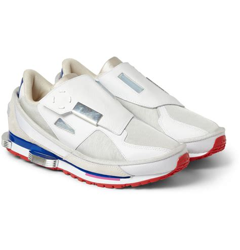 lyst raf simons x adidas leather and mesh sneakers in white for
