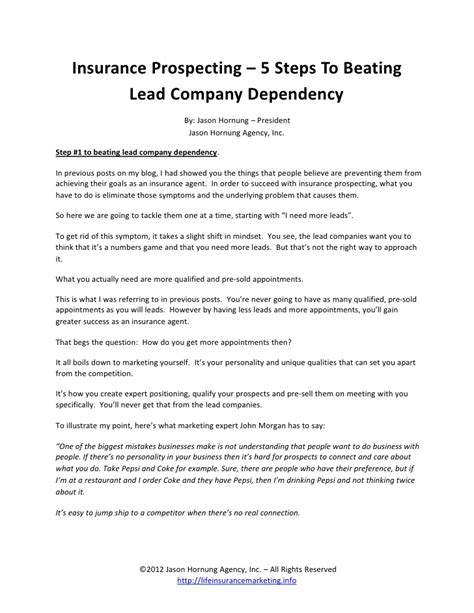 Insurance Prospecting Letters Template insurance prospecting and sweet