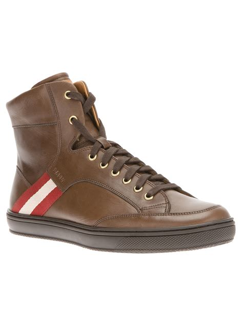high top bally sneakers bally oldani hitop sneaker in brown for lyst