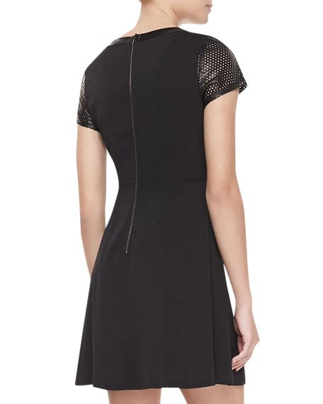 Sleeve Perforated Dress perforated leather sleeve crepe dress