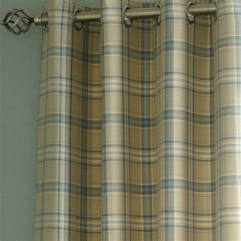 tartain curtains iliv piazza cerato tartan check eyelet curtains azure blue