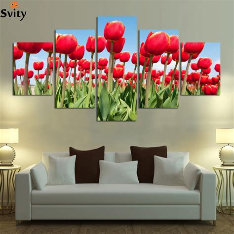 5 panel modern printed flower painting canvas cuadros flowers picture wall home