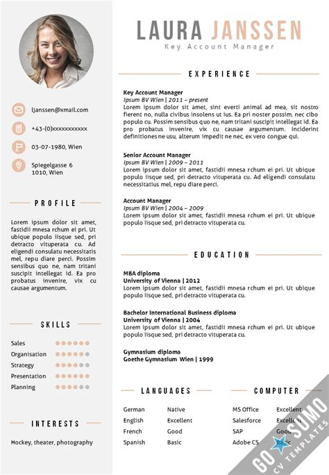 resume format with photo cv template vienna go sumo cv template