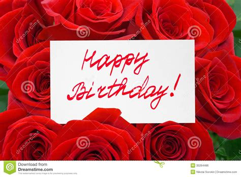 Happy Birthday Wishes With Roses Roses And Card Happy Birthday Stock Photo Image 35264486