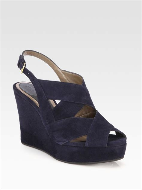 wedge sandals blue marni suede banded wedge sandals in blue navy lyst