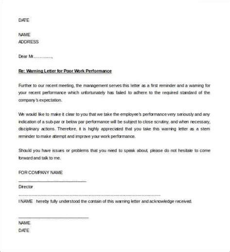 hr warning letter template poor performance