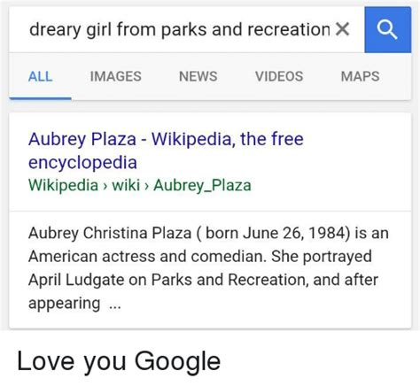 google x wikipedia the free encyclopedia 25 best memes about april ludgate april ludgate memes