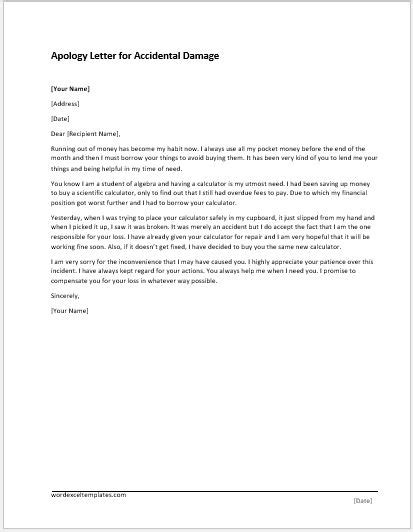Apology Letter Car Apology Letter Templates For Word Word Excel Templates
