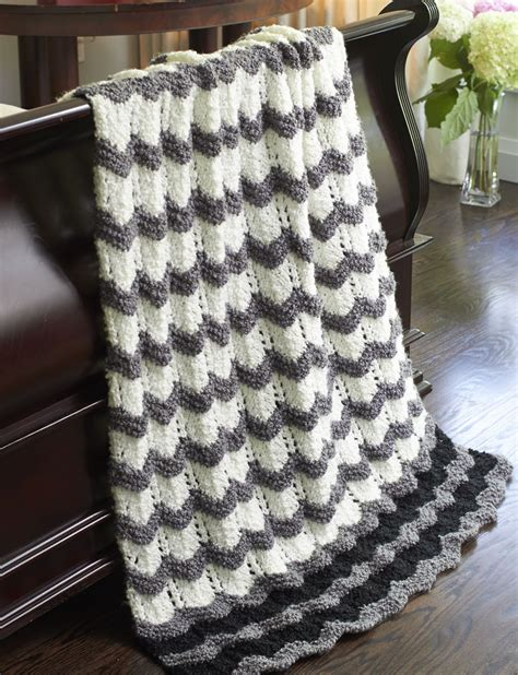 bernat afghan knitting patterns bernat s throw ripple knit pattern yarnspirations
