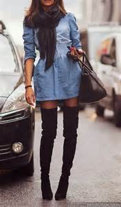 thigh high boots denim dress style