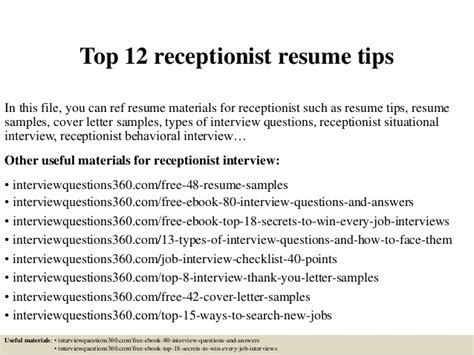 Resume Tips Receptionist Top 12 Receptionist Resume Tips