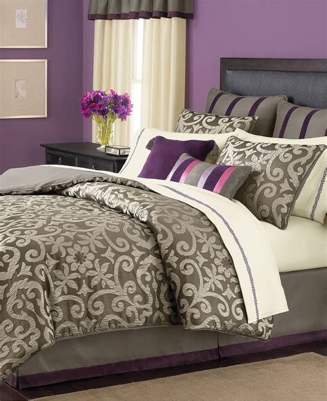 purple and silver bedroom martha stewart collection bedding brownstone damask 24