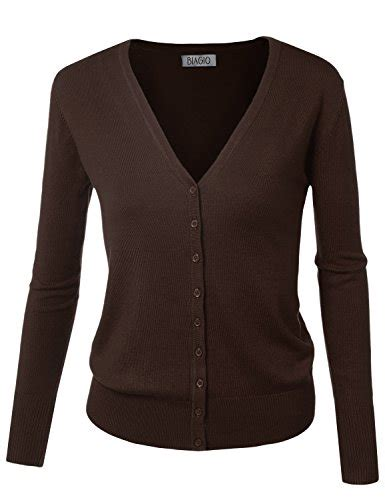Cardigan Soft Brown biadani button sleeve soft v neck cardigan sweater brown large store