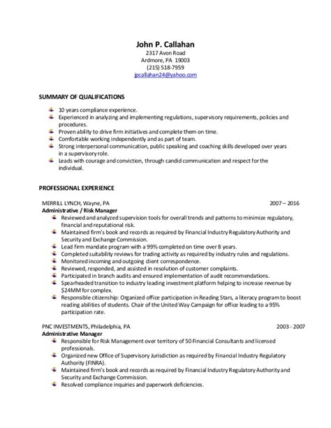 Compliance Analyst Resume by P Callahan Risk And Compliance Analyst Resume