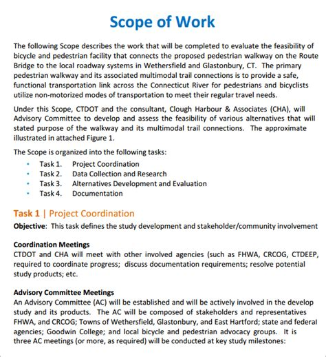 free scope of work templates word excel pdf formats