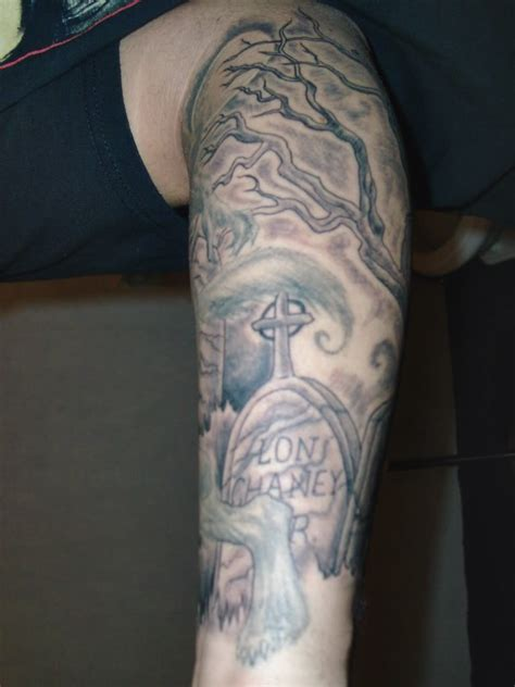 grave tattoos graveyard on leg