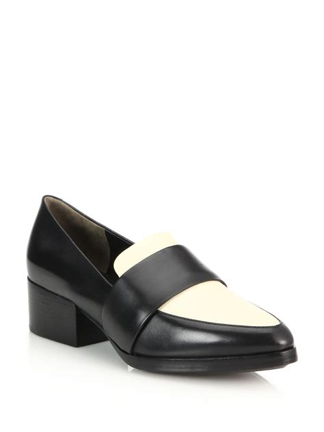 philip lim loafers lyst 3 1 phillip lim quinn leather loafers in black