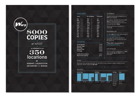 magazine layout design rates rate card for warp magazine verar
