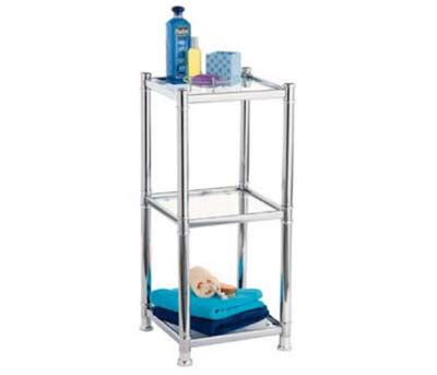 Chrome And Glass Bathroom Shelves Omega Bathroom Chrome Deluxe 3 Tier Rack With Glass Shelves At Plumbing Uk