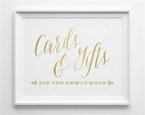 Card And Gift Table Sign - wedding signs wedding cards and gifts sign gift table sign matte gold and white