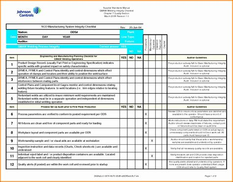Quality Checklist Template Excel by 11 Quality Checklist Template Excel Exceltemplates