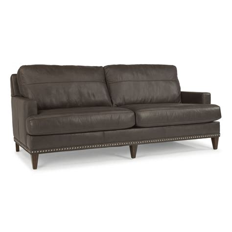 Nailhead Furniture by Flexsteel B3367 31 Leather Sofa With Nailhead Trim