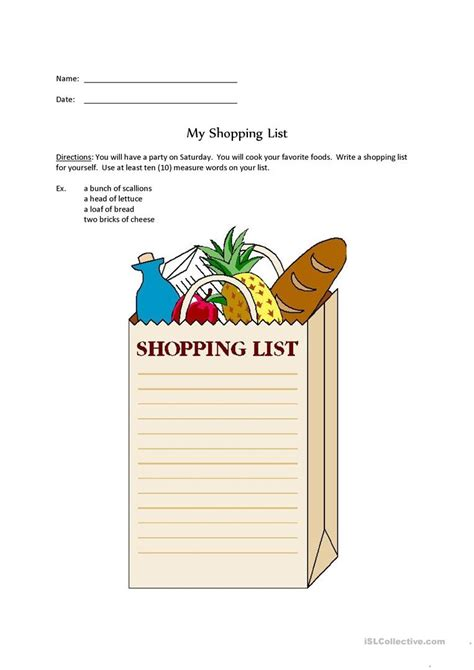 shopping for sheets shopping list worksheet free esl printable worksheets