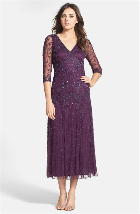 beaded dresses pisarro nights beaded mesh dress in purple plum lyst