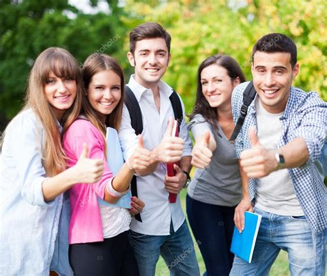 William And Flex Mba Students Narney by Of Happy Students With Thumbs Up Stock Photo