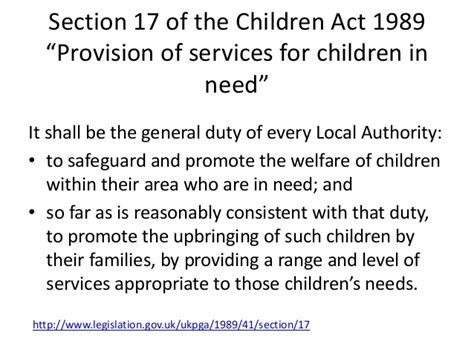 section 17 children s act 1989 vulnerability and developmental needs
