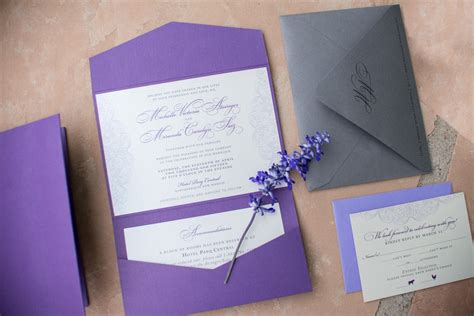 purple lace wedding invitations paper and home