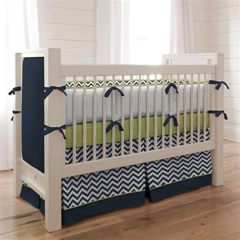 navy crib bedding navy and citron zig zag 3 piece crib bedding set
