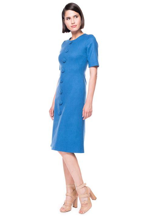 Bj 0729 Black Button Slim Dress wool dress with buttons chemistry studio