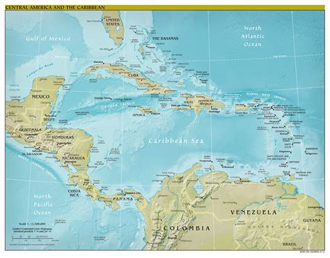 america and caribbean map large scale political map of central america and the