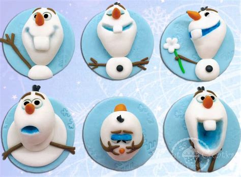 edible fondant frozen olaf themed cupcake toppers disney disney frozen and frozen