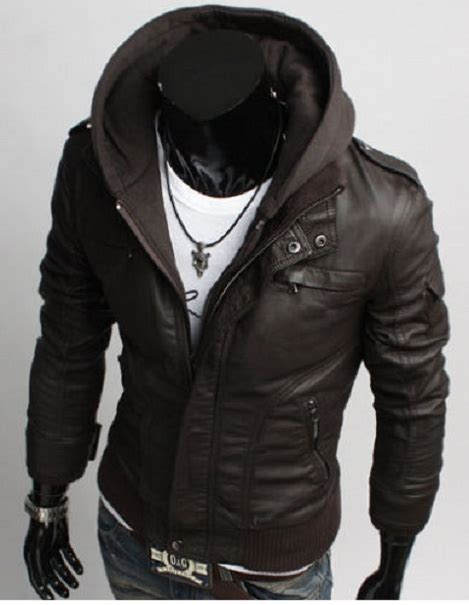 Jaket Korean Hoodie 19 Grayscale Size s leather jackets korean style casual slim fit