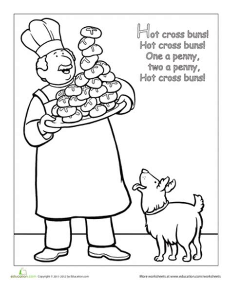 nursery rhyme coloring pages preschool nursery rhyme coloring hot cross buns worksheets